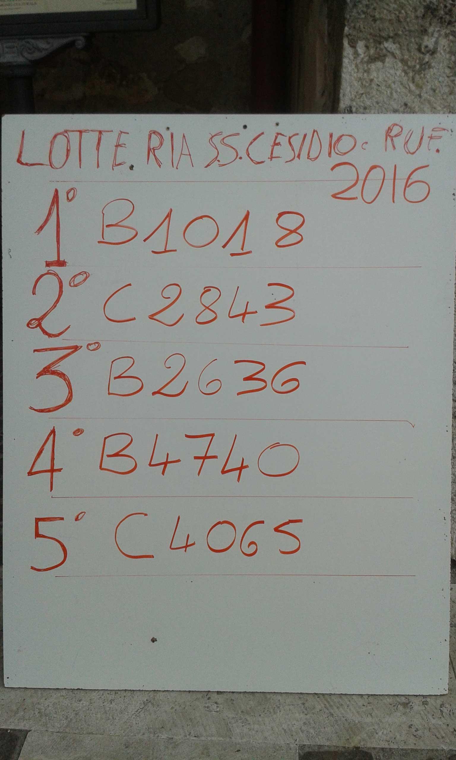 lotteria san cesidio, 2016, Trasacco